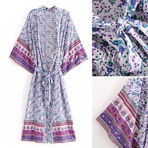 Floral Boho Kimono NEW Purple Pink